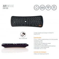 Teclado OEX Air Mouse p/ Smart TV