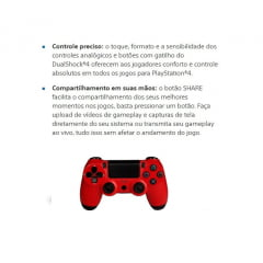 Controle Sony Dualshock 4 p/Playstation  PS4 Vermelho