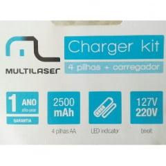 Carregador de Pilhas Multilaser Charger Kit c/ 4 Pilhas